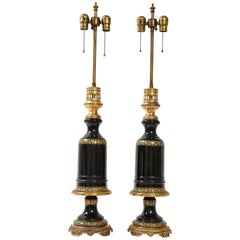 Beautiful Pair of French Gilt Bronze Mounted Black Amethyst Crystal Lamps