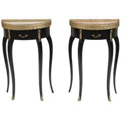 Beautiful Pair of French Louis XVI Side Table Marble Top by Maison Jansen