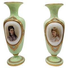 Beautiful Pair of French Opaline Glass Vases Attributed to Baccarat
