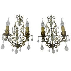 Pair of Italian Gilt Iron and Glass Sconces,  circa 1950s