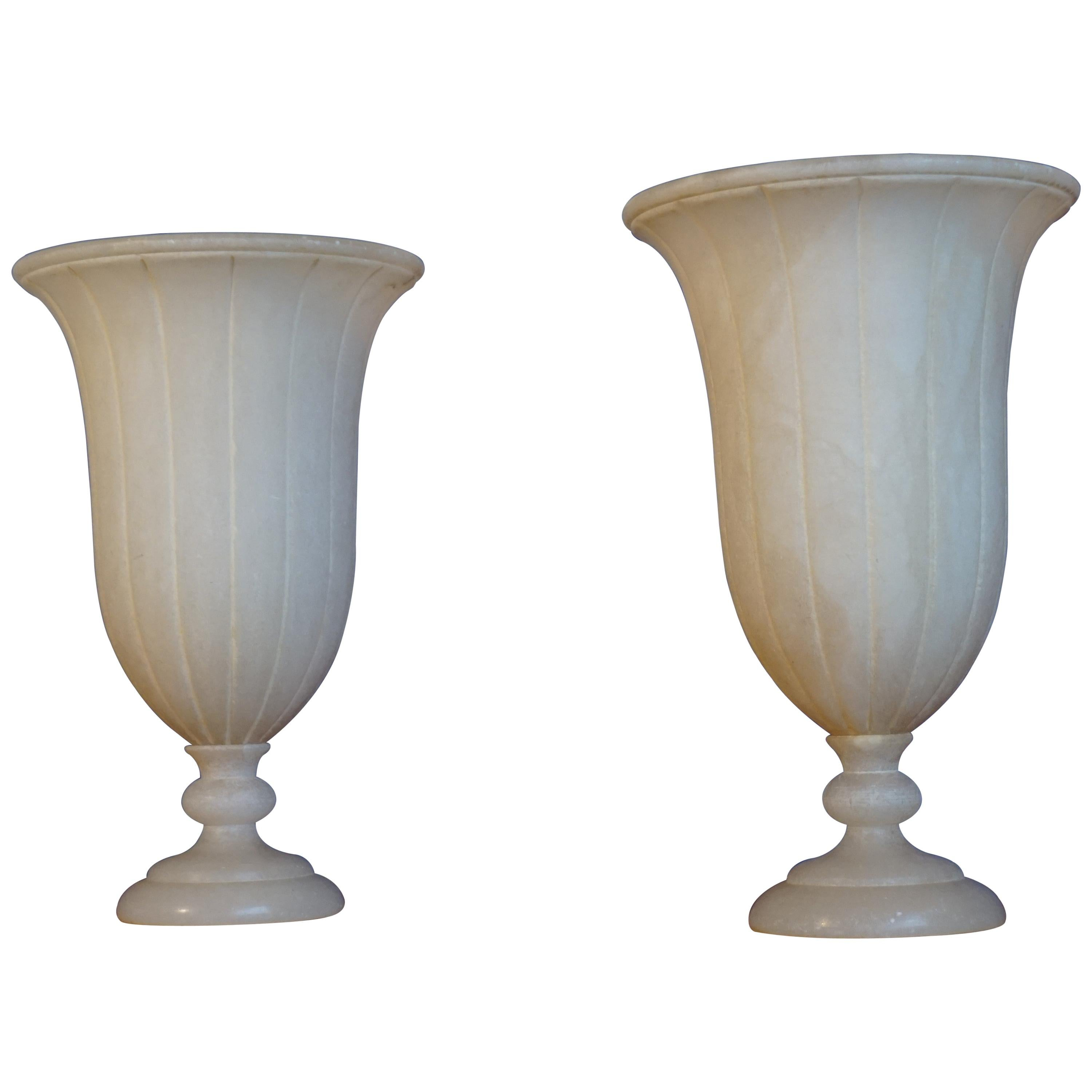 Beautiful Pair of Hand Carved Classical Roman Design Alabaster Table Lamps 1970s