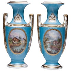 Beautiful Pair of Hand Painted Old Paris Porcelain Vases