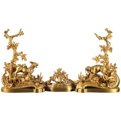 "Beautiful Pair of ""Hunting"" Andirons"