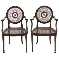 Beautiful Pair of Italian Carved Wood and Caned Armchairs