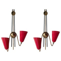 Beautiful Pair of Italian Scones, Brass and Red, 1950s