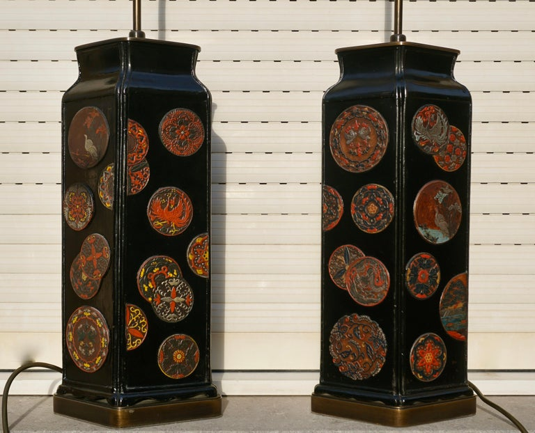 A beautiful pair of Japanese style table lamps tall slender
