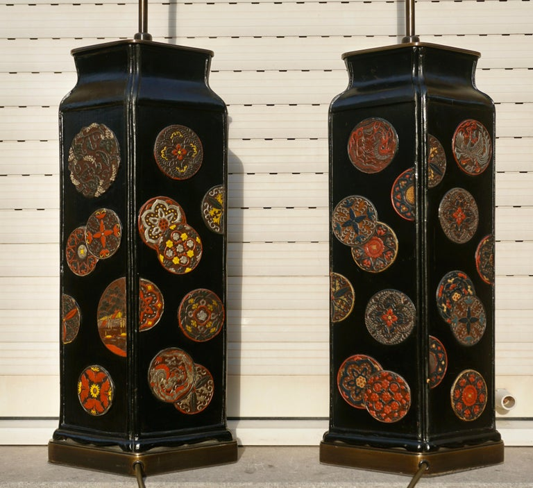 Hollywood Regency Beautiful Pair of Japanese Style Table Lamps, Italy, 1950s For Sale