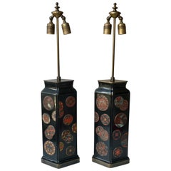 Beautiful Pair of Japanese Style Table Lamps, Italy, 1950s