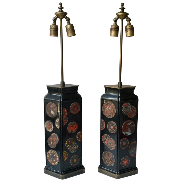 Beautiful Pair of Japanese Style Table Lamps, Italy, 1950s For Sale