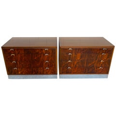 Beautiful Pair of John Stuart Rosewood and Chrome Chests, Restored