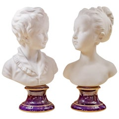 Beautiful Pair of Late 19th Century French Limoges Porcelain Busts on Sevres