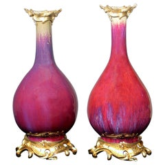 "Beautiful Pair of Late 19th Century Gilt Bronze ""Sang de Boeuf"" Porcelain Vases"