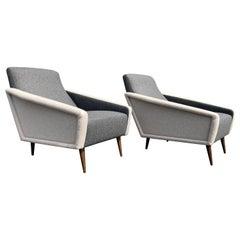 Beautiful Pair of Lounge Chairs, Kvadrat Fabric, Oak Legs, Gray