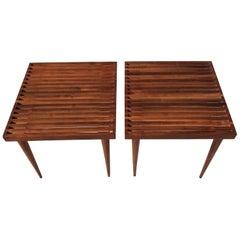 Beautiful Pair of Mel Smilow Slat Walnut Side Tables, USA, 1950