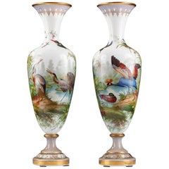 Beautiful Pair of Opal Glass Vases Baccarat