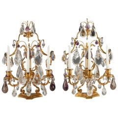 Beautiful Pair of Rock Crystal Girandoles Attributed to H. Picard