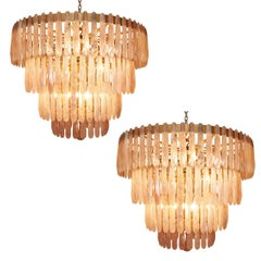 Beautiful Pair of Rose Quartz Rock Crystal Chandeliers