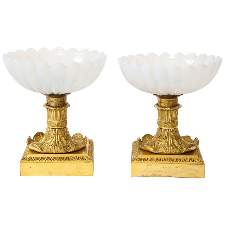 Beautiful Pair of Russian Imperial Glass and Ormolu Mounted Tazza Centerpieces For Sale