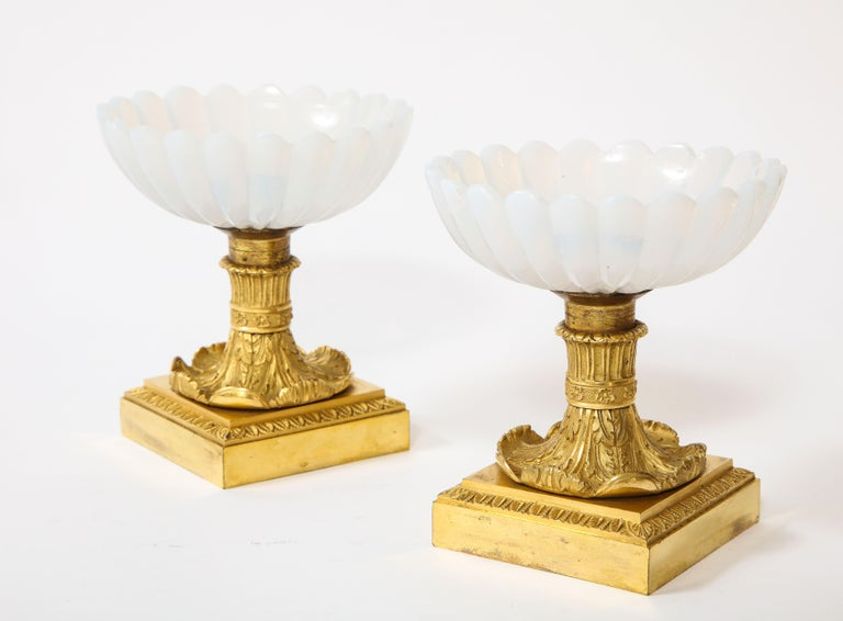 Empire Beautiful Pair of Russian Imperial Glass and Ormolu Mounted Tazza Centerpieces For Sale