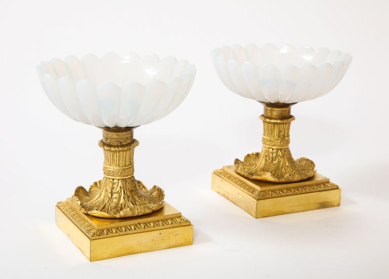 Hand-Carved Beautiful Pair of Russian Imperial Glass and Ormolu Mounted Tazza Centerpieces For Sale