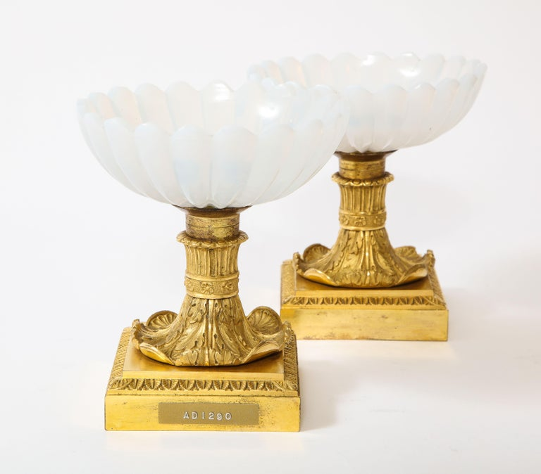 Beautiful Pair of Russian Imperial Glass and Ormolu Mounted Tazza Centerpieces In Good Condition For Sale In New York, NY
