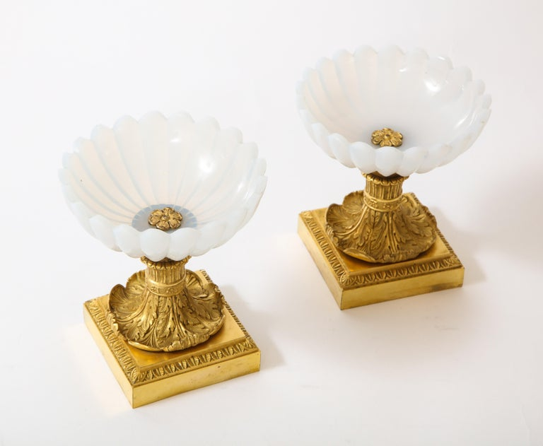 Mid-19th Century Beautiful Pair of Russian Imperial Glass and Ormolu Mounted Tazza Centerpieces For Sale