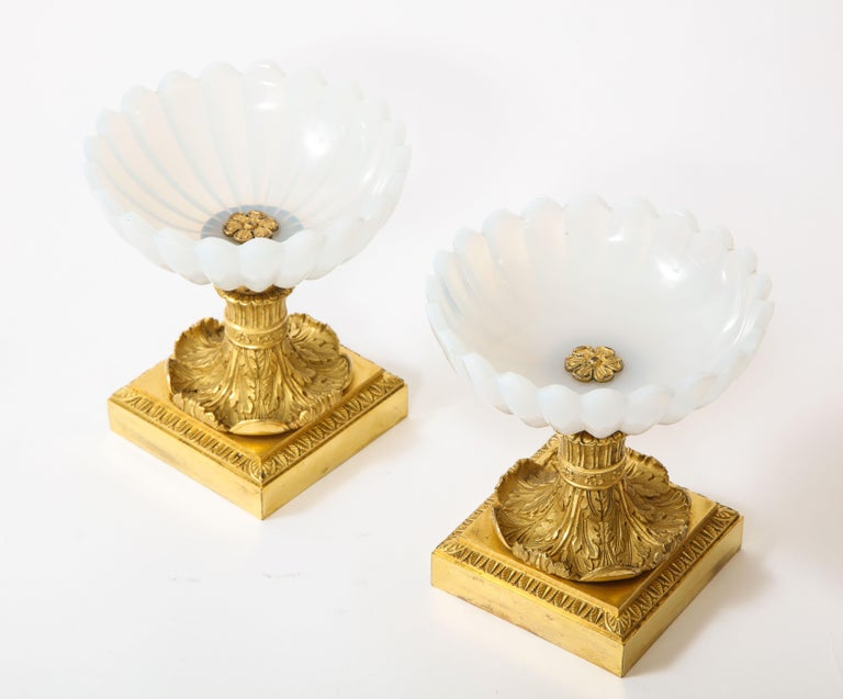 Bronze Beautiful Pair of Russian Imperial Glass and Ormolu Mounted Tazza Centerpieces For Sale