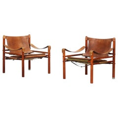 Beautiful pair of Safari Sirocco Chairs by Arne Norell for Norell AB, Sweden