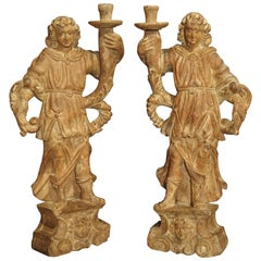 Beautiful Pair of Stripped 17th Century Italian Torchbearer Candleholders