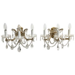 Beautiful Pair of Three Light Brass Sconces Cut Crystals, German, 1960s