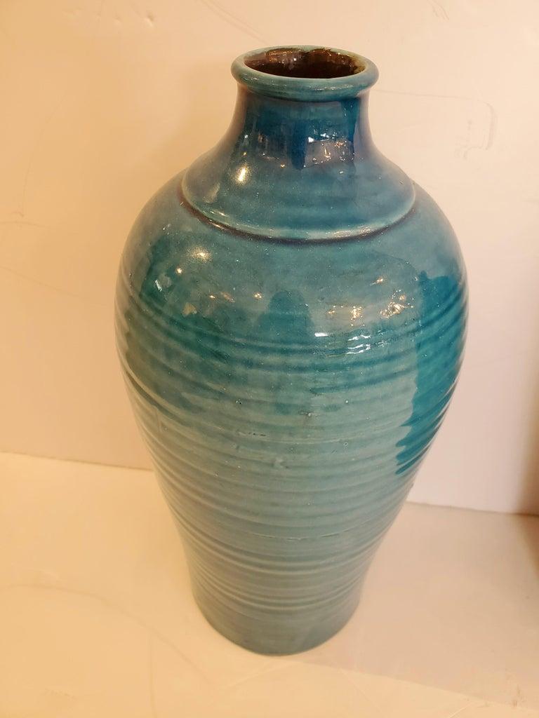 Mid-20th Century Beautiful Pair of Turquoise Italian Ceramic Vases For Sale