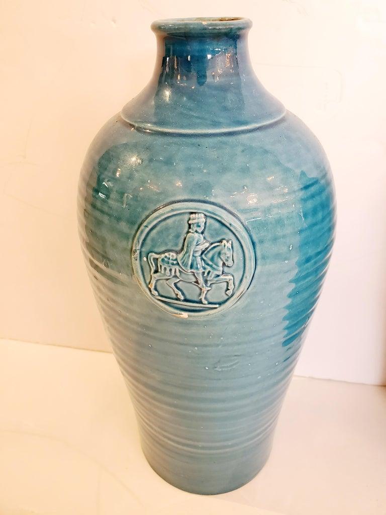 Beautiful Pair of Turquoise Italian Ceramic Vases For Sale 1