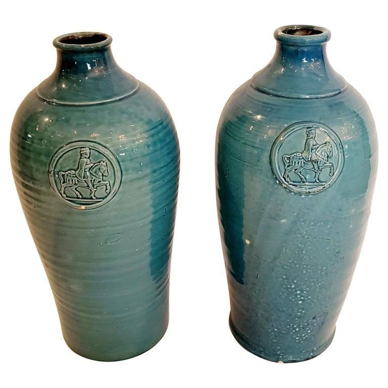 Beautiful Pair of Turquoise Italian Ceramic Vases For Sale