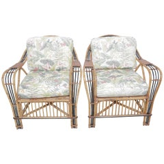 Beautiful Pair of Baker Vintage Bamboo and Cane Armchairs