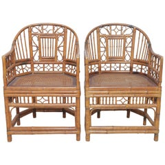 Beautiful Pair of Vintage English Regency Bamboo Chairs