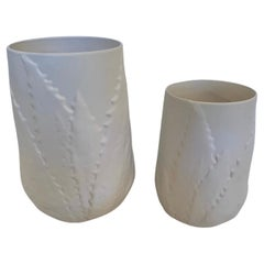 Beautiful Pair of White Ceramic Planters or Vases