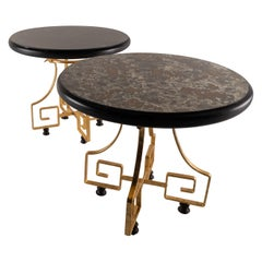Beautiful Pair of Wrought Iron and Glass Side Tables Attributed to Arturo Pani