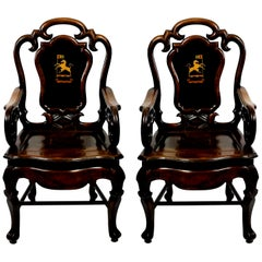 Beautiful Pair of 19th Century Anglo-Chinese Armchairs