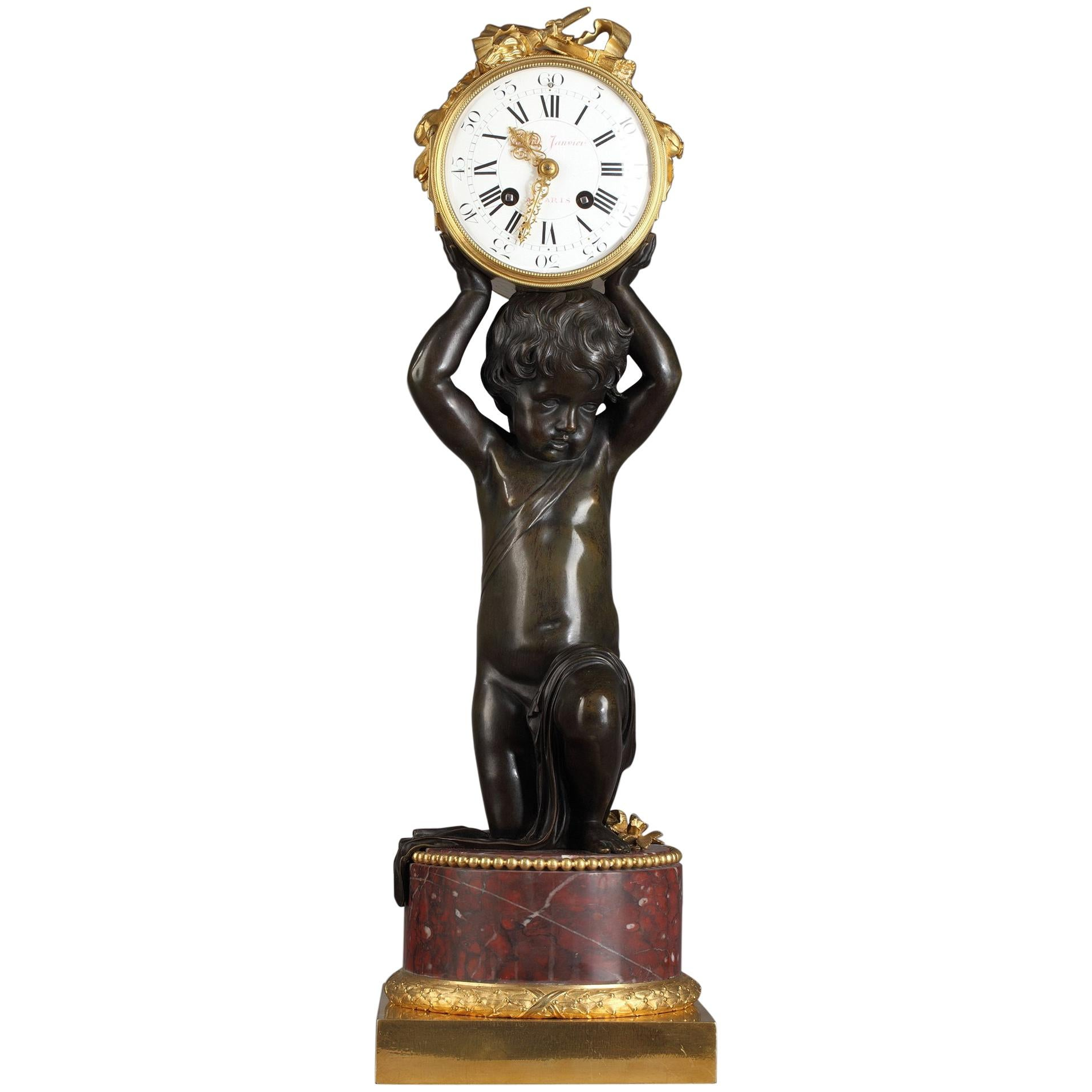 Beautiful Patinated and Gilded Bronze Clock by E. Hazart, France, Circa 1880