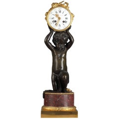 Beautiful Patinated and Gilded Bronze Clock by E. Hazart
