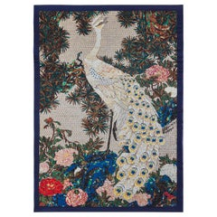 Beautiful Peacock Bed Cover Blanket Silk Cashmere Wool