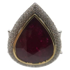 Beautiful Pear Shape Ruby and Diamond Two-Tone Ring in 18 Karat