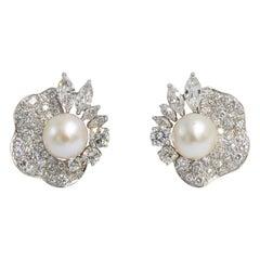 Beautiful Period Pearl and Diamond Earrings