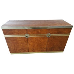 Beautiful Pierre Cardin Burl and Brass Buffet