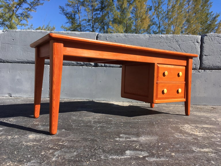 Beautiful Pine Craftsman Desk Prouve Chapo Style In Good Condition For Sale In Opa Locka, FL