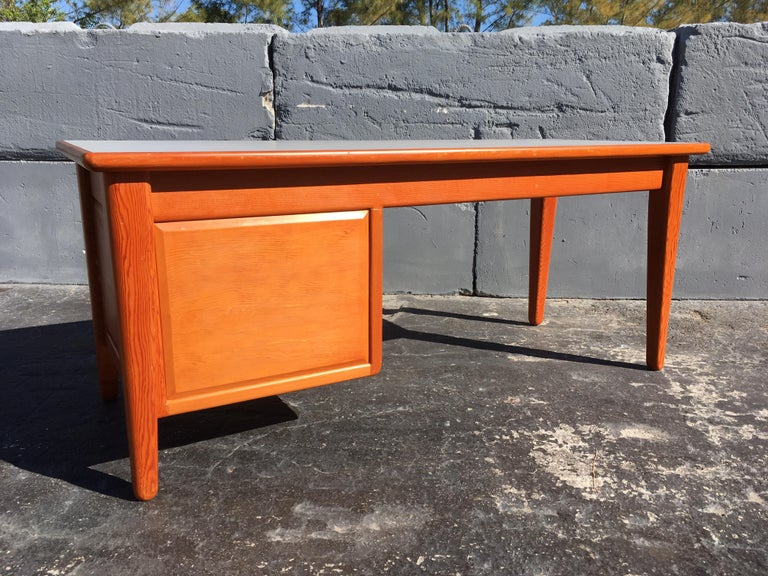Mid-20th Century Beautiful Pine Craftsman Desk Prouve Chapo Style For Sale
