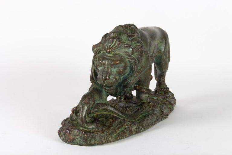 Italian Beautiful Plaster Sculpture, Lion and Snake, Romeo Capovani, Italy, circa 1925 For Sale
