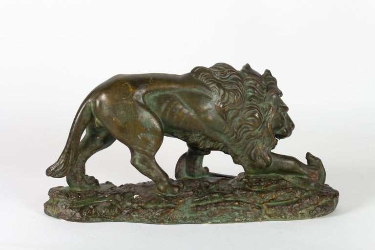 Early 20th Century Beautiful Plaster Sculpture, Lion and Snake, Romeo Capovani, Italy, circa 1925 For Sale