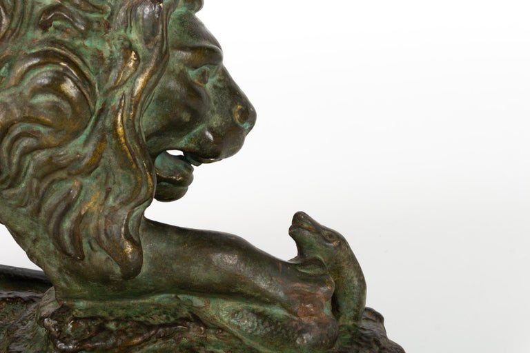 Beautiful Plaster Sculpture, Lion and Snake, Romeo Capovani, Italy, circa 1925 For Sale 1