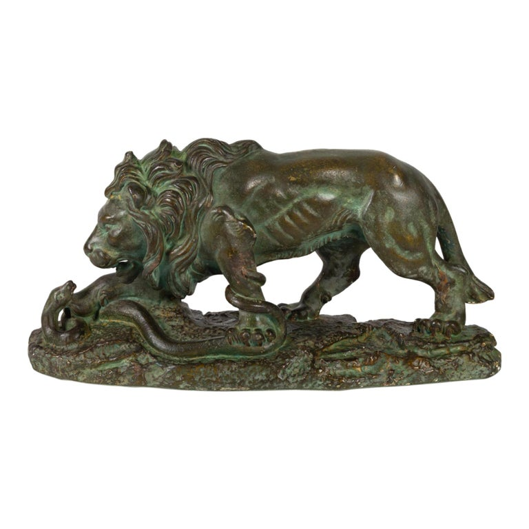 Beautiful Plaster Sculpture, Lion and Snake, Romeo Capovani, Italy, circa 1925 For Sale
